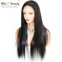4*4 Silk Top Lace Front Wig Silk Base Human Hair Wigs Straight Italian Remy Invisible Parting Natural Hairline WoWEbony