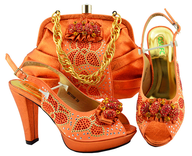 Latest Orange Color African Matching Shoes and Bags Italian In Women Italian Ladies Shoes and Bag Set Decorated with Rhinestone doershow african women matching italian red color shoes and bag set decorated with rhinestone italian ladies shoe and bag sab1 2