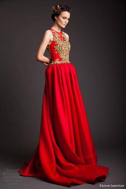 A Line Red Evening Dress Sleeveless Gold Appliqued Krikor Jabotian