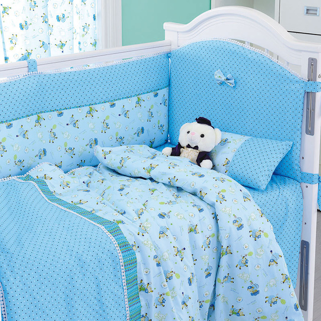 8 Pieces Set Blue Sheep Baby Bedding Nursery Cot Crib Per Quilt Ed Sheet
