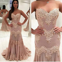 YNQNFS PD16 Elegant Lace Appliqued Robe Chiffon Mermaid Trumpet Prom Party Bridesmaid Dresses Long