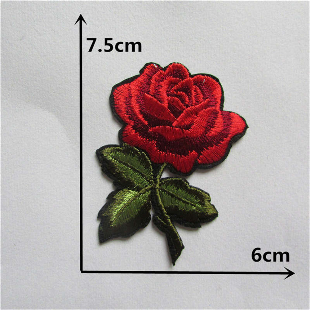 New Arrival rose flower patches embroidery applique clothes sewing patch DIY badge patch accessories 1pcs sell Free Shipping(China)