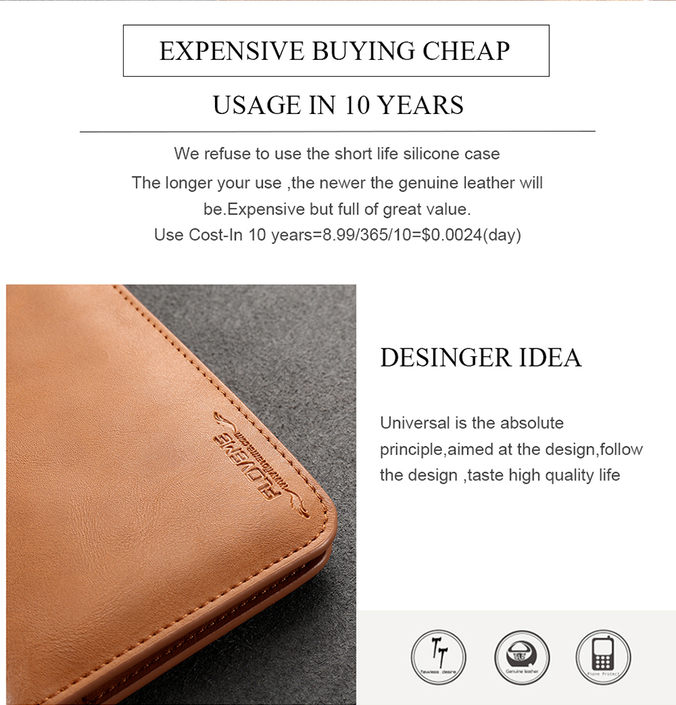 FLOVEME Genuine Leather Wallet Case For iPhone 6 6S 7 Plus Cover Multi-function Vintage Luxury Phone Pouch For Samsung S6 S7 (12)