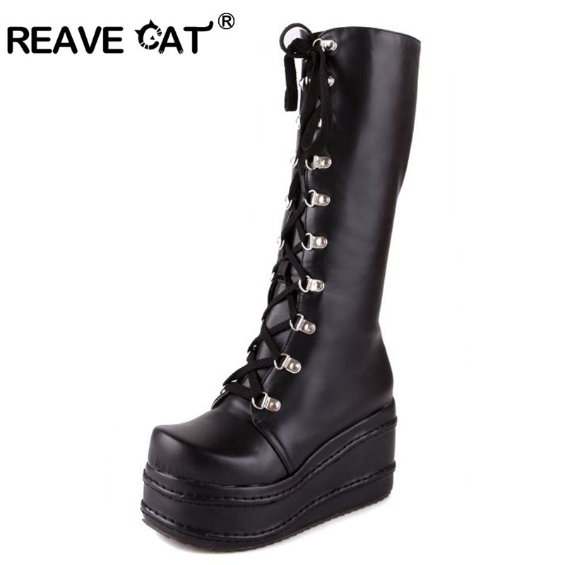 323d1b7d28bff REAVE CAT Style Women Black Boots Casual Knee High Wedges Platform High  Heel Boots Punk Gothic Shoes Lace Up Riding Boas QH3038