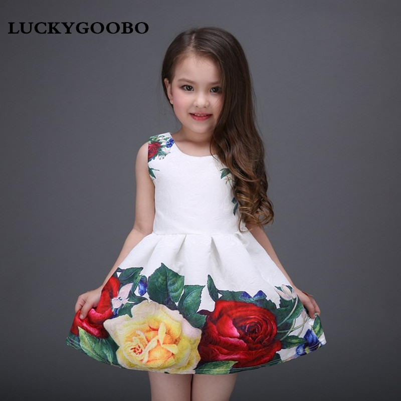 LUCKYGOOBONew spring and summer girls clothing princess dress Roses printed dress high-grade high quality girl tutu dinner party 2 8y new 2017 high quality girls party dress 1pc girls vest princess dress children spring autumn dress girl summer dress