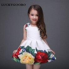 LUCKYGOOBONew printemps et d'été filles vêtements princesse robe Roses imprimé robe de haute qualité haute qualité fille tutu dîner