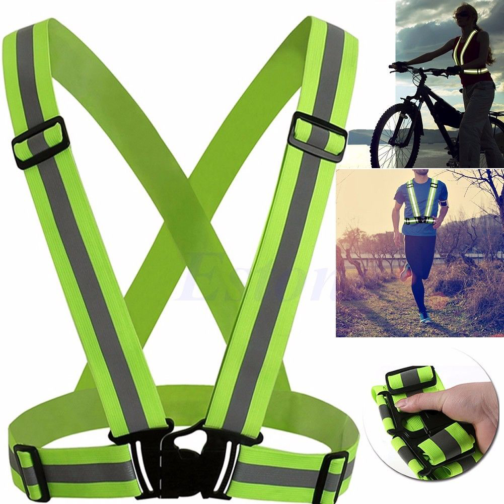 Unisex Outdoor Cycling Safety Protective Vest Bike Bicycle Light Reflecing Elastic Harness Night Riding Running Jogging