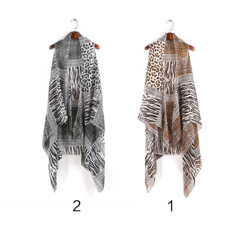 Womens Chiffon Vest Style Shawl Scarf Ethnic Leopard Zebra-Stripes Snakeskin Patchwork Printing Wrap Skirt Cardigan Asymmetric