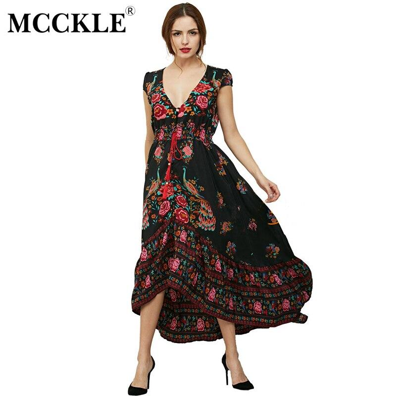 a4145a902 MCCKLE mujer moda Verano Vestido Ethenic Sexy Print Retro Vestido de La  Vendimia de La Borla
