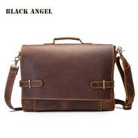 Черный Ангел Винтаж Для мужчин из натуральной кожи Портфели сумка для ноутбука Бизнес сумка Crazy Horse кожа Для мужчин сумка Кроссбоди Мешок