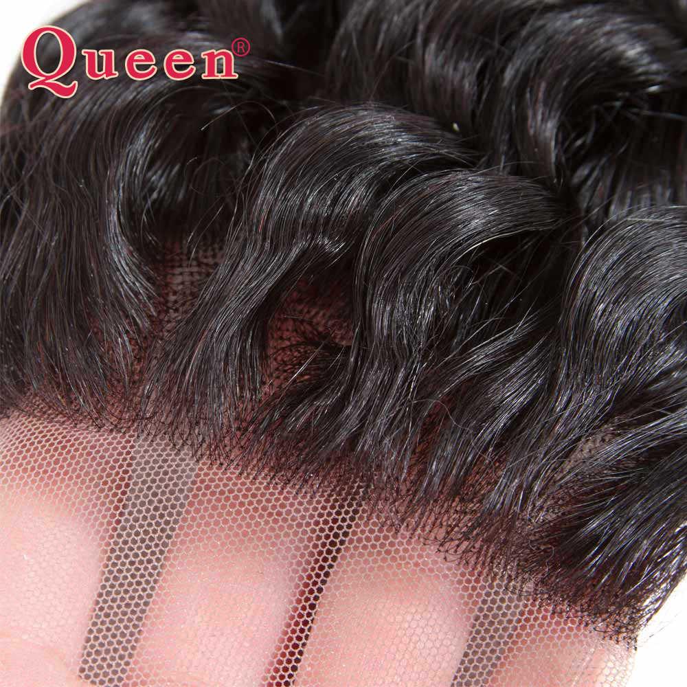 Pelo Queen de onda profunda pelo humano brasileño tejido Cierre de encaje con pelo de bebé puede mezclar 3 mechones para cierres de pelo Remy de cabeza completa