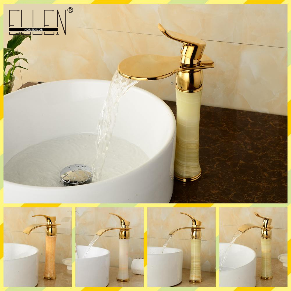 Luxury Waterfall Bathroom Faucet Golden Hot and Cold Water Mixer Tap with Jade Body Single Handle baci xs l