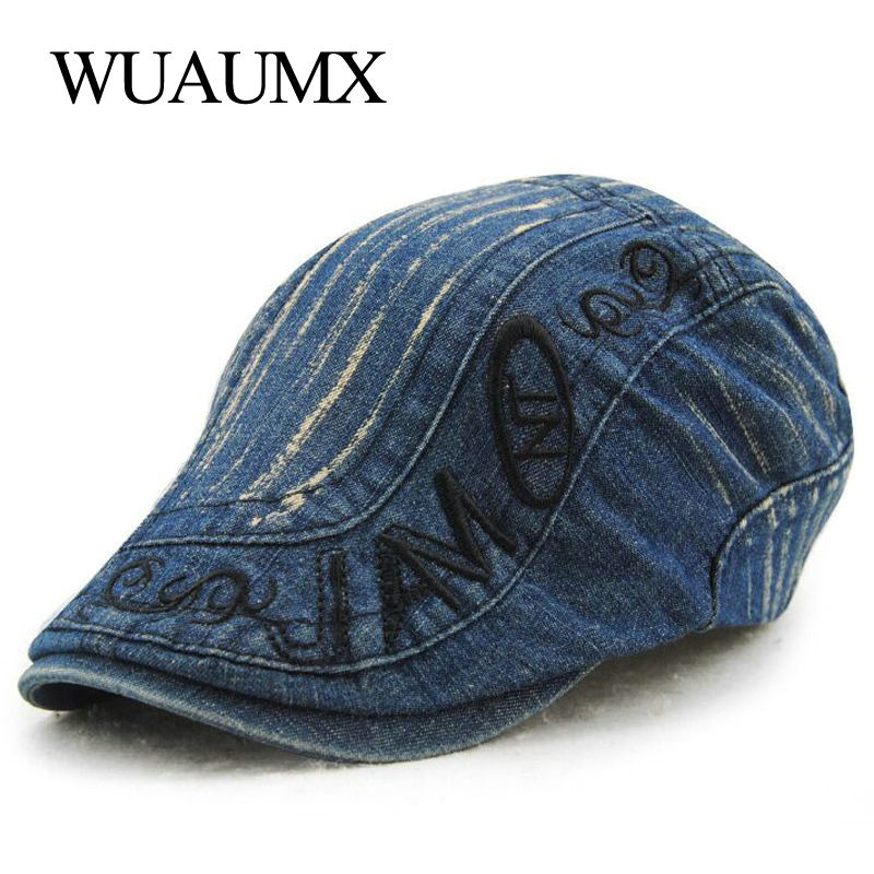 Wuaumx Wholesale Summer Beret Hats For Men Women Adult Visors Denim Driving Sun Flat Cap Berets Female Spring Gorras Planas