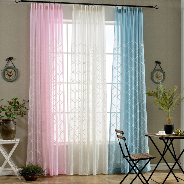 White Embroidered Blue Sheer Tulle Short Curtains For The Living Room Window Vertical Blinds Cheap Pink Sale WP054B