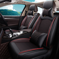 13pcs Ice Silk Fabric Car Seat Cover Set Luxury Leather Auto Seat Protection Pad For 5 Seats Car Interior Accessories
