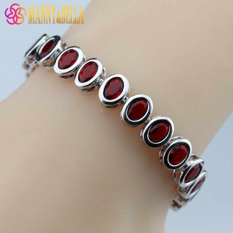 925 Sterling Silver Oval Red Garnet Bracelet Health Fashion  Jewelry For Women Free Jewelry Box SL110