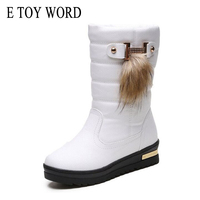E TOY WORD Leather Waterproof Winter Snow Boots Female Round Toe Solid Warm Women Boots Non