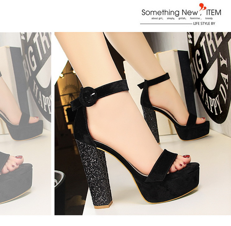 5d892e7a78830 Fashion women s shoes sequins rough with super high-heeled waterproof suede  sexy nightclub word sandals
