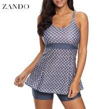 Zando New Women Plaid Swimsuit Tankini Swimsuits Swimwear High Neck Tops With Shorts Swimming Suit Beachwear
