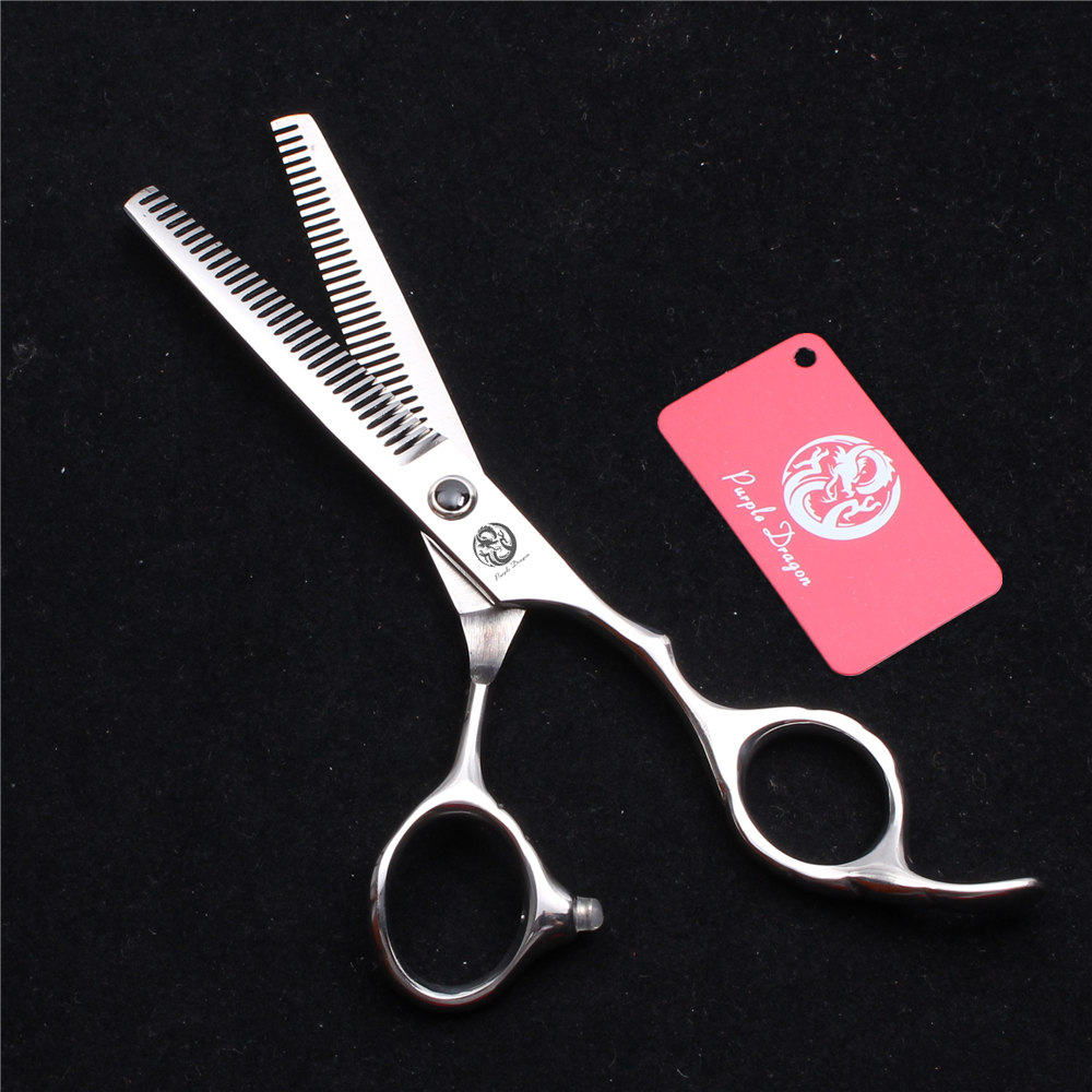 6.0'' JP 440C Purple Dragon Barber Hairdressing Scissors Thinning Shears Double Side Teeth 15% Thinning Rate Hair Scissors Z2000