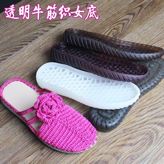 Kauçuk tabanlar sonbahar kış kanca tabanı şeffaf kristal ayakkabı kaymaz tendon alt el örme yün terlik sandalet