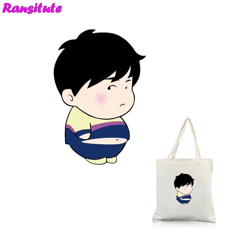 Ransitute R350 A Cute Fat Costume Printing T-shirt Denim Clothing Applique Backpack Patch Washable Heat Transfer