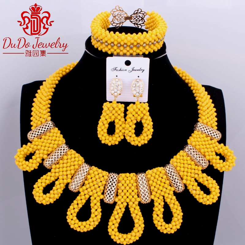 Fashionable Dubai Yellow African Jewelry Sets Crystal Beads Jewelry Sets Nigerian Bridal Jewelry Sets For Bride Women 2017 Hot