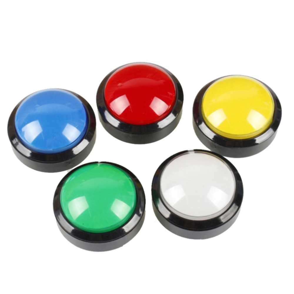 Arcade Button 5 Colors LED Light Lamp 60MM Convexity Big Round Arcade Video Game Player Push Button Switch(China)