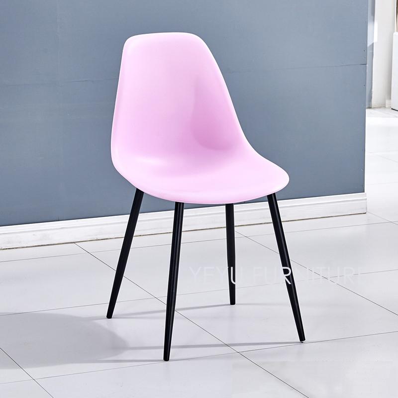 minimalista moderno diseo de acero de metal pierna de plstico asiento de comedor silla lateral simple