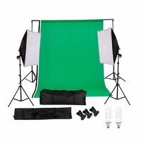 Photography Studio Set:non woven backdrop(green.white.black)&background stand&soft box&135w lighting bulb