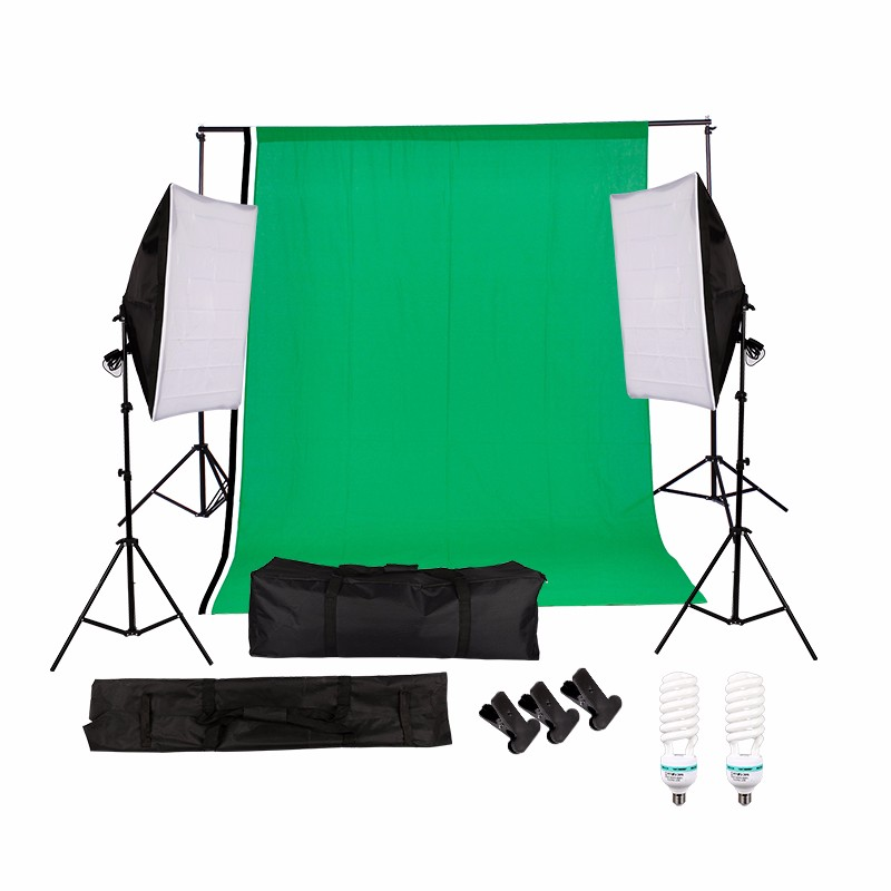 Photography Studio Set:non-woven backdrop(green.white.black)&background stand&soft box&135w lighting bulb