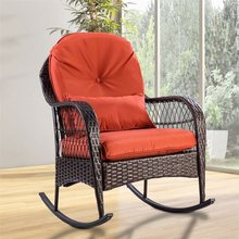 Outdoor Wicker Rocking Chair With Cushion High Quality Sturdy Weatherproof Patio Garden Chair HW57256(China)