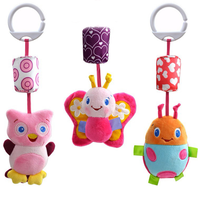 1pc Toys Baby Music Animal Wind Chime Cute Hanging bed safety seat plush toy Hand Bell New 2015 -- BYC013 PT49