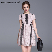 2017 Spring Summer Brand Dresses Short Sleeve O Neck Slim Fitting A Line Pink Lace Party