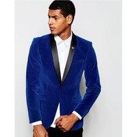 Custom Made Groomsmen Shawl Lapel Groom Tuxedos Velvet Royal Blue Jacket Men Suits Wedding Best Man (Jacket+Pants)