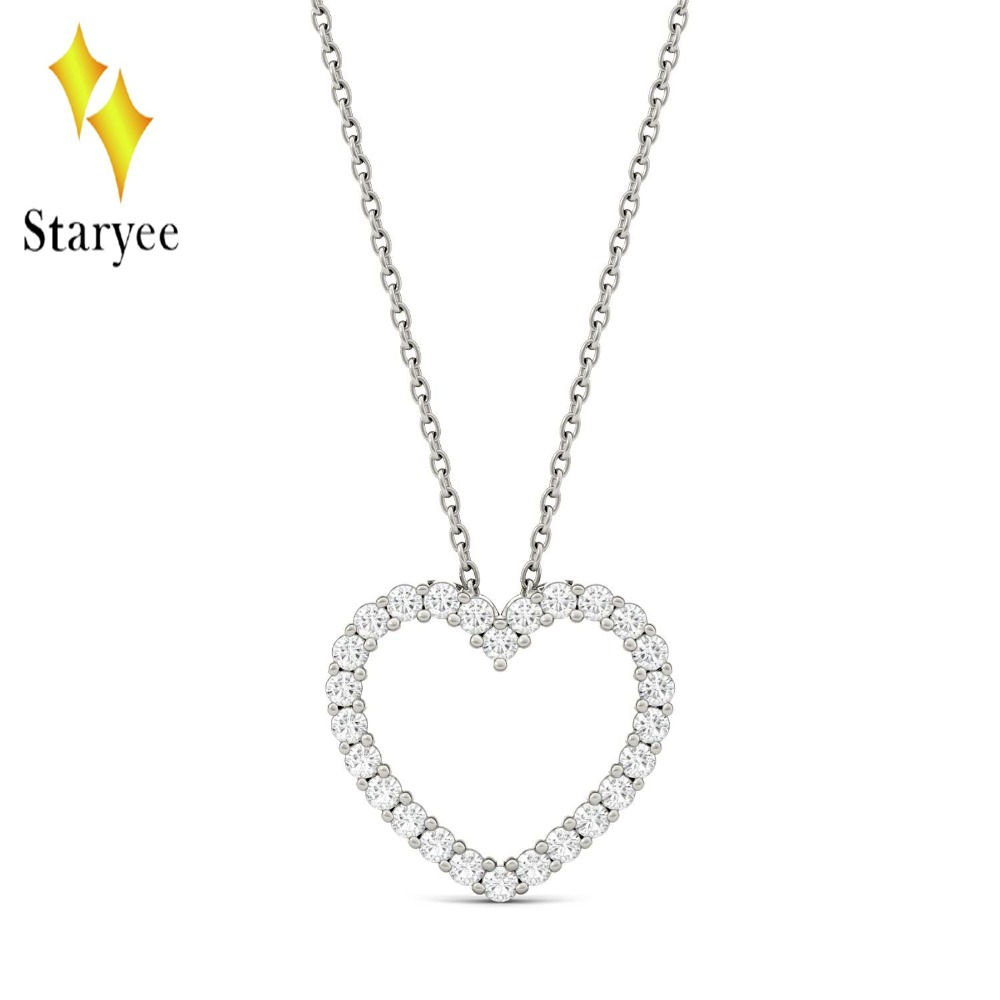 Certified 0.39 Carat Lab Grown Moissanite Diamond Heart Pendant Necklace Solid 18K White Gold Engagement Brand for Women Jewelry yoursfs heart necklace for mother s day with round austria crystal gift 18k white gold plated