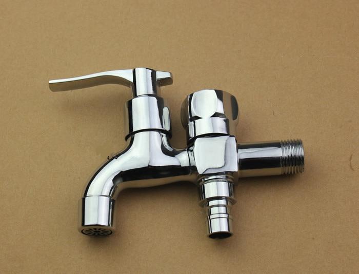Aliexpress.com : Doppel Wasser Outlet Garten Waschmaschine Wasserhahn  Messing Tippen Badezimmer Schnelle Auf Armaturen Poliert Chrome Finish Von  ...