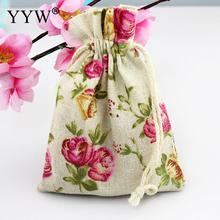 YYW 2017 Jewelry Bags Flower Pouches Cotton Fabric Bags Christmas Gift Bags Candy Jewelry Packaging Organza Bags Pouches
