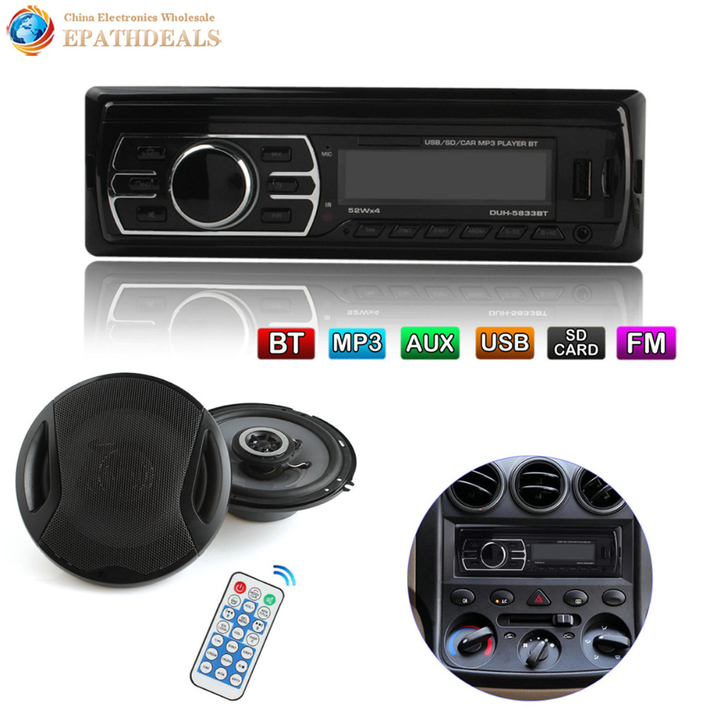 12V Bluetooth Auto Car Radio Stereo Audio Player In-Dash FM Aux Input Receiver SD USB MP3 MMC + 6 Inch Car Coaxial Loud Speaker car usb sd aux adapter digital music changer mp3 converter for skoda octavia 2007 2011 fits select oem radios