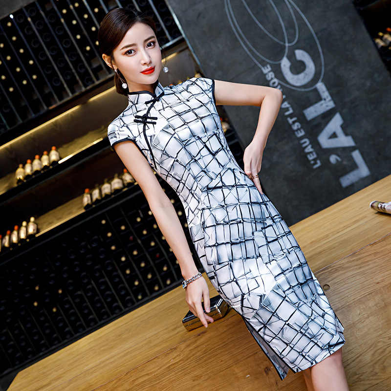 Район плед для женщин пикантные Винтаж Короткие печати Cheongsam Новинка китайский стиль воротник стойка платье дамы тонкий Qipao S-XXXXL