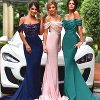 Long Bridesmaid Dresses 2016 Mermaid Cap Sleeve Floor Length Stretch Satin Emerald Green Bridesmaid Dress