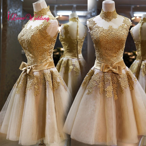 New Fashion 2019 Short   Cocktail     Dresses   A Line High Neck Lace Applique Knee Length Gold Natural Waist Bow Party   Dresses