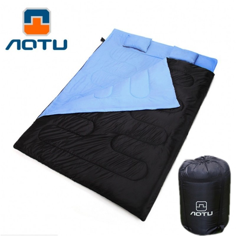 Aotu Winter Double Sleeping Bag Ultralight Outdoor Sleeping Bag Liner Polyester Pongee Portable Camping Envelope Sleeping Bag kingcamp 220x75cm camping sleeping bag polyester winter warm outdoor sleeping bags with compression bag