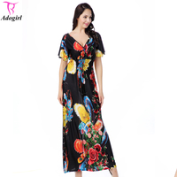 Women Plus Size Summer Dresses 2017 Summer Lady Short Sleeve V Neck Flower Peacock Feather Printed Bohemia Long Maxi Beach Dress