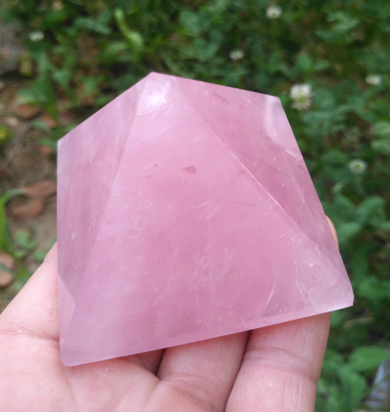 30-50mm Natural Quartzo Rosa Pirâmide de Cristal Pedra Feng Shui Cura Espécimes