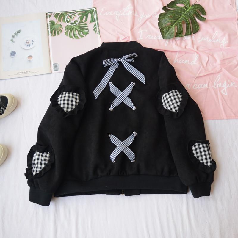 Lacets Baseball Col Harajuku Femmes Coréen Printemps Noir Designs Manteau À Veste Grille Retour Cardigan Montant Patch Arc De Coeur Fc1u3KTlJ