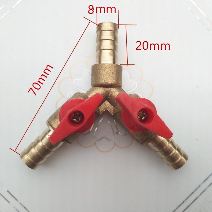 1PC 3 Way Shut Off Ball Valve / Valve Clamp Fitting Hose Barb Fuel Gas 5/16 Inch 8/10MM Brass Y Type Ball Valve For Garden Tool