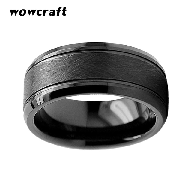 8mm Mens Womens Black Tungsten Carbide Wedding Band Rings Fashion Brushed Finish Beveled Edges Comfort Fit Personal Customize
