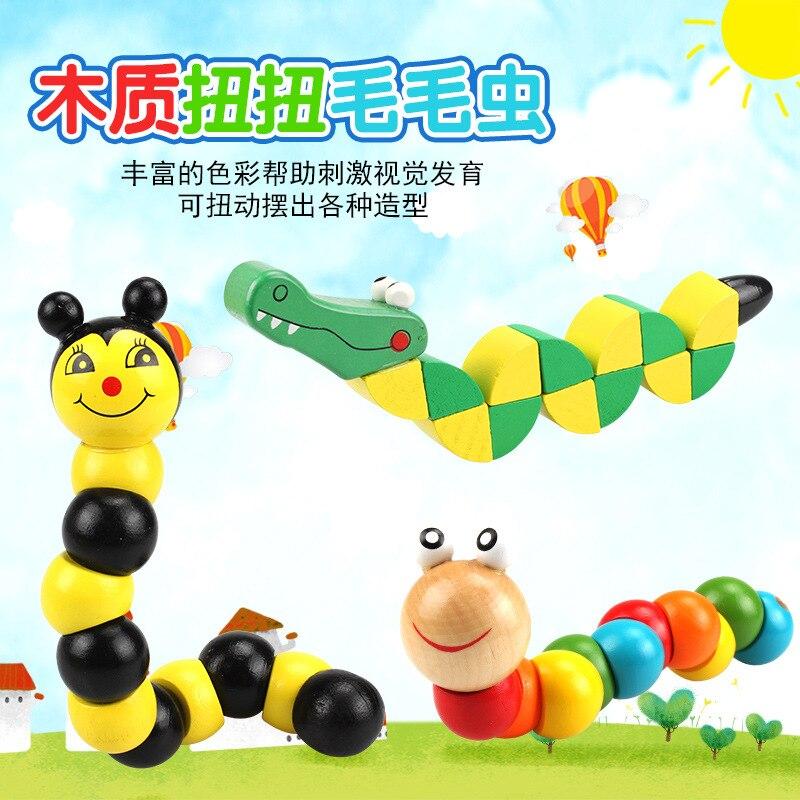 Toy Cube-Toys Puzzle Crocodile Animal Girl Kids Wood Caterpillar 1PCS Bee-Building-Blocks