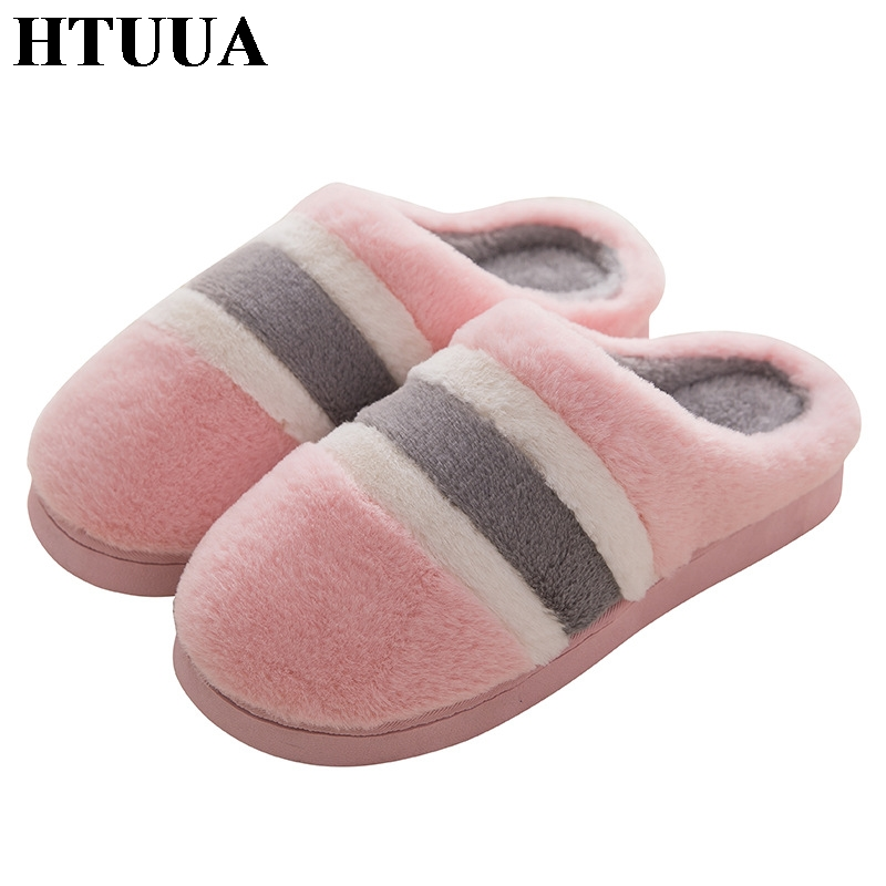 HTUUA Cotton Slippers Flats-Shoes Couples Winter Women Indoor Warm Antiskid SX1915 Mixed-Color